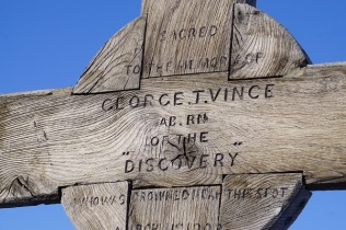 A cross for an expedition member who died in the sea ice near Discovery Hut