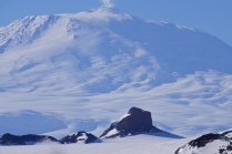 The majestic Mt. Erebus behind Castle Rock