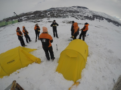 Antarctic Field Training - pitching tents