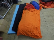 Three mats, sheep-skin and four sleeping bags - quite toasty !