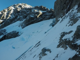 A few crevasses and a bergschrund have to be navigated - stay on climber's right !