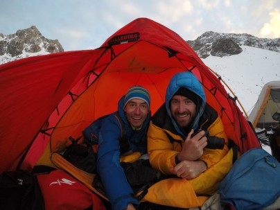 Dan and I happy in the tent - like years ago in Antarctica