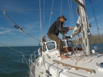 Kolle pulling up the spinnaker