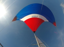 On the bow under the spinnaker
