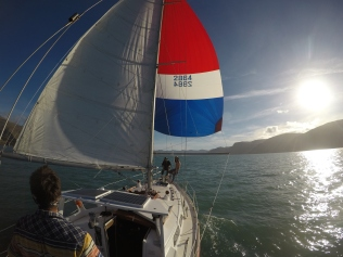Sailing downwind with a spinnaker
