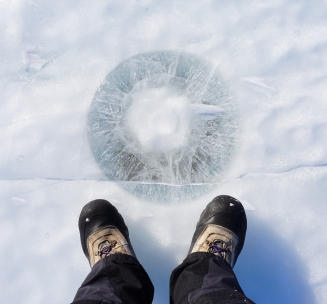 Cryoconite hole on Antarctica's surface