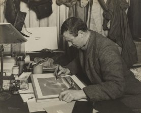 Wilson painting during his polar expedition