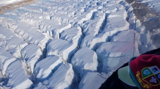 Flying over crevasses
